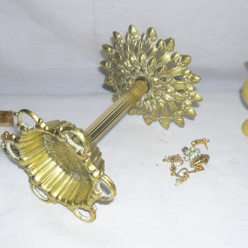 vtg Gold vanity decor, fancy gold Jewelry stand, Hollywood glam Bathroom decor
