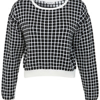 Checked Monochrome Jumper - Miss Selfridge