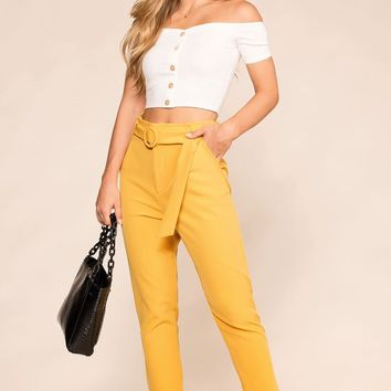 Raegan Mustard High Waisted Pants