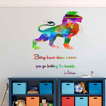 kcik2038 Full Color Wall decal Watercolor Character Disney Sticker Disney children's room The Lion King quote