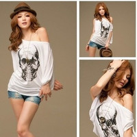 New Skull Print White Sexy Women's Blouse Batwing Sleeve Off Shoulder T-Shirt Loose Tops Punk Style Plus Size Loose Joker Tops (Color: White) = 1945921540