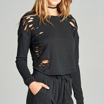 Distressed French Terry Sweater - Black