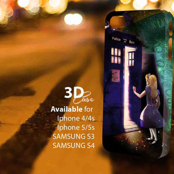 Alice Wonderland on Tardis (aj)3D iPhone Case for iPhone 4/4S, iPhone 5/5S and,Samsung Galaxy S3, S4