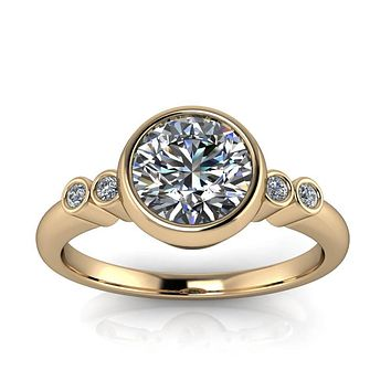 Bezel Set Moissanite and Diamond Engagement Ring - Skylar
