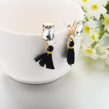 Vintage Gold Plated Earrings With Black Tassel Crystal Stone Drop Earrings Jewelry