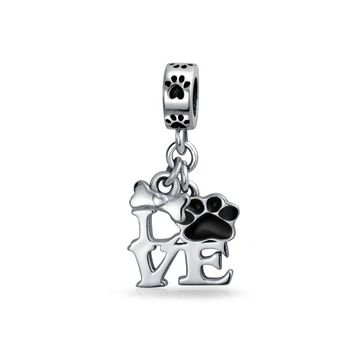 Black Dog Cat Puppy Kitten Paw Print BFF Pet Dangle Charm Bead Silver