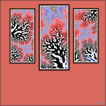 DIY designs, 3 printable art files, TRIPTYCH instant DOWNLOAD, red,  purple,  black and white decor