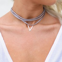 Triangle Gold Choker Necklace (Gray)
