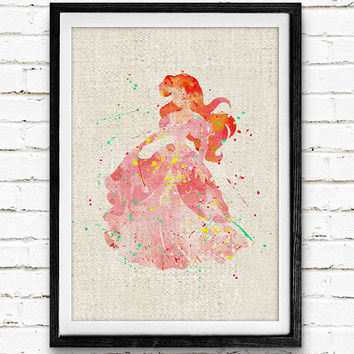 The Little Mermaid Ariel Watercolor Art Print, Disney Princess Poster, Wall Decor, Gifts, Nursey Wall Art, Not Framed, Buy 2 Get 1 Free!