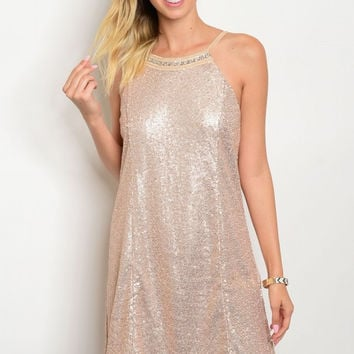 * BRONZE WITH SEQUINS DRESS