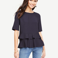 Tiered Ruffle Hem Top | Ann Taylor