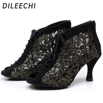 DILEECHI Brand New arrival Black Lace mesh Women's Latin dancing shoes high-heeled 7.5cm adjusted width boots narrow AA