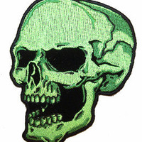 GREEN SKULL LEFT EMBRODIERED PATCH P5840 biker new NOVELTY iron on scull head