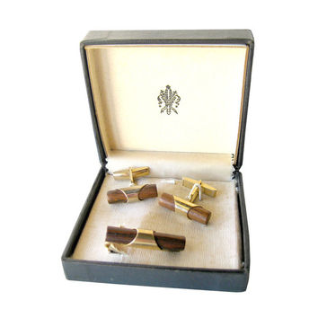 Oh So Mod Vintage Wood Cuff Links and Tie Bar Boxed Set / Gift for Him / Mens Gift / 1960s Mens Fashion / Vintage Mens Jewelry
