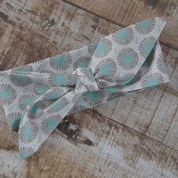 Ready To Ship Teal Gray Flower Floral Designer Fabric Top Knot Headband Head Tie Headwrap