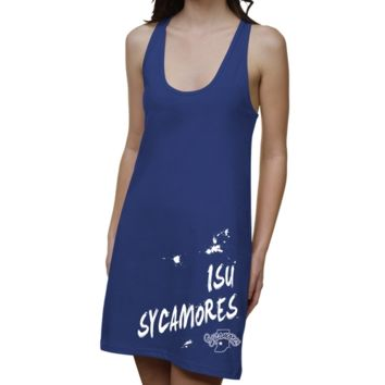 Indiana State Sycamores Ladies Paint Strokes Junior's Racerback Dress - Royal Blue