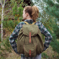 Vintage Hiking Rucksack / Green Canvas Alpine Travel Backpack w. Genuine Leather Straps / Large Rustic Khaki Camping / Scout / Explorer Bag