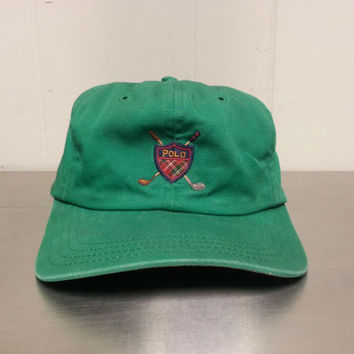 Rare Vintage Polo Ralph Lauren Cross Clubs Strap Back Hat Made In USA Polo Golf Club Logo Dad Hat Hipster Style