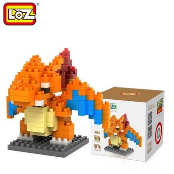 LOZ Single Sale Mini Charizard Cartoon Doll Diamond Bricks Pocket Monster Dragon Building Blocks Toys for Children 9143