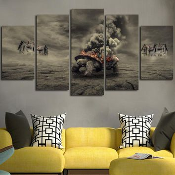 Turtle And Thick Cloud Of Smoke Wall Art Canvas
