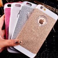 For iphone 4 4s 5 5s 6 4.7 inch glitter powder hard PC diamond bling case DIY crystal rhinestone