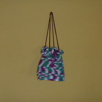 Crochet Round Drawstring Bag/Tote/Purse
