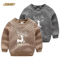 Christmas Deer Boys Sweatshirts Autumn and Winter Boys T-shirts Casual Baby Clothes Warm Kids Pullovers Tops Children's Clothing