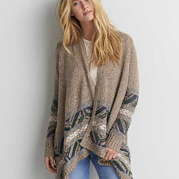 AEO Placed Pattern Waterfall Cardigan , Multi