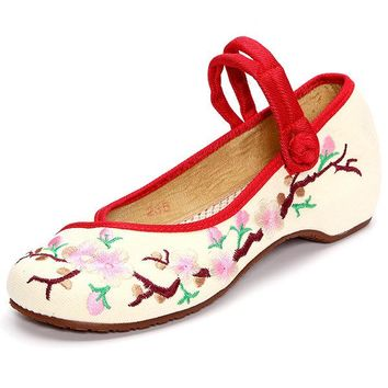 Embroidered Floral Print Canvas Slip On Retro Lazy Shoes