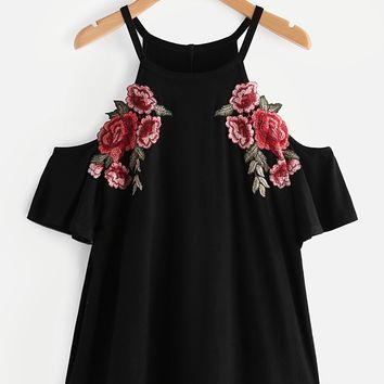 Embroidered Rose Patch Cold Shoulder Tee BLACK