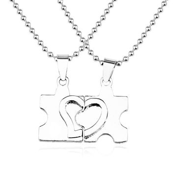 2 PCS Best Friends Necklace Jewelry Broken Love Heart Pendant Puzzle Necklaces Couples Paired Unisex Necklace For Men Women Gift