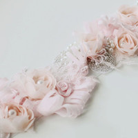 Blush Pink Flower Wedding Sash Bridal Belt Accented with Hand Beaded Bling and Faux Pearls