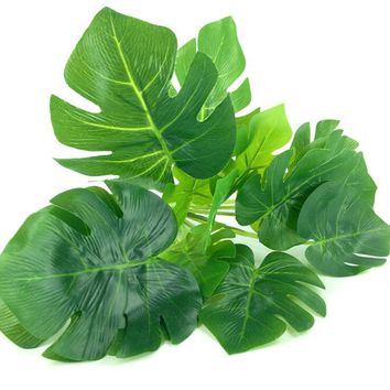 15heads Artificial greenery Monstera palm tree Leaves leaf wedding DIY decoration cheap small fake Flowers arrangement plant