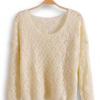 Round Neck Long Sleeve Beige Sweater  S002366