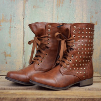 Star Struck Cognac Studded Military Boot