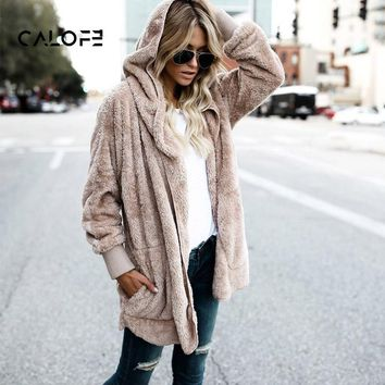 CALOFE Faux Fur Teddy Bear Coat Jacket Women Fashion Open Stitch Winter Hooded Coat Female Long Sleeve Fuzzy Jacket 2018 Hot New