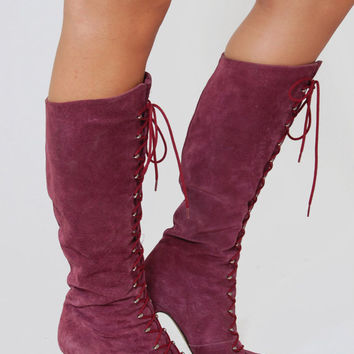 Vintage LACE UP Boots Knee High Boots Rocker Pumps Purple SUEDE Leather Knee High Boots Size 8