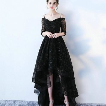 Sexy Black Lace Evening Dresses 2017 New Sexy Sweetheart Cap-Sleeve Beach Built-In Bra Formal Women Evening Gown Long Prom Dress