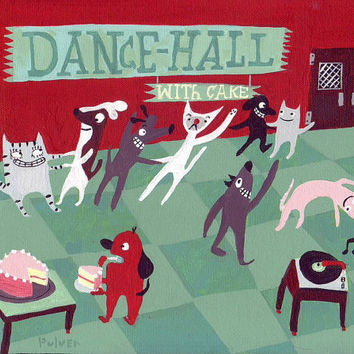 Dogs and Cats Dance Art Print - Dance Hall w Cake - Red, Pink, Mint, Jade, Seafoam Green, Brown Bakery Art