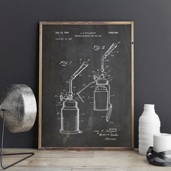 Blow Torch, Blow Lamp, Blowtorch Blueprint, Chemistry Poster, Chemistry Patent,Pharmacy Art,Laboratory Decor,Science Patent,INSTANT DOWNLOAD