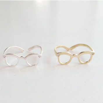 Glasses Ring, Eyeglasses Ring, Cute Ring, Simple Ring, Korean Ring, Brass Ring, Adjustable Ring