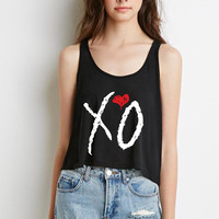 "The Weeknd ""XO"" Logo Boxy, Cropped Tank Top"