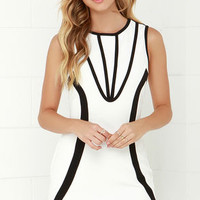 Space Cadet Black and Ivory Dress