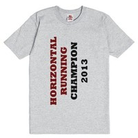 Horizontal Running Champion 2013-Unisex Dark Ash T-Shirt