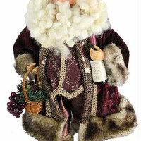 Tuscan Winery Santa - Santa Figure Carries A Basket Filled With Grapes And A Bottle Of Wine