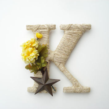 Wrapped Letter K, Rustic Decor, Cowboy Decor, Country theme, Western Letter, Rustic Letter