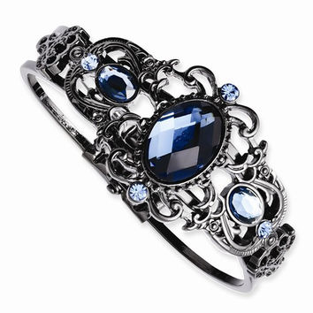 Black-plated Blue Acrylic & Glass Hinged Bracelet