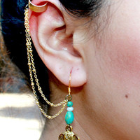 Elephant Ear Cuff with Gold Plated Chain by IsesJewelry on Etsy