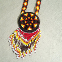 Beaded Star Necklace Native American Style Beadwork Necklace Southwest Tribal Medallion Design