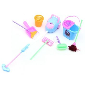 Goods Toy Supplies Kit for Girls Doll Household Broom House House Cleaning Mop Broom Tools Accessories Pretend  Doll Household G